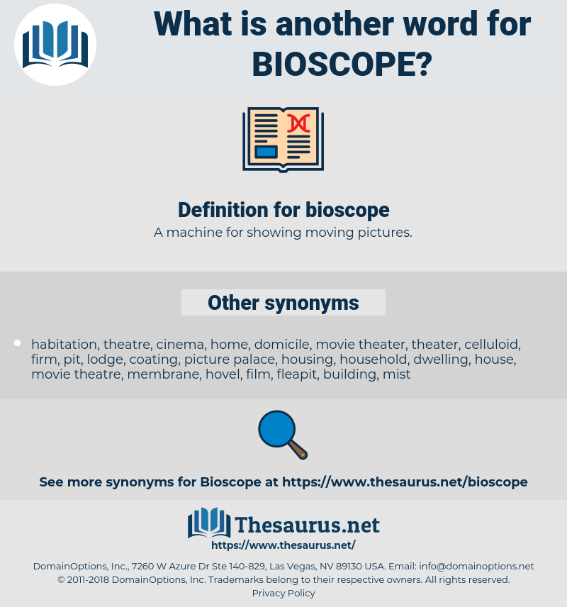 Synonyms for BIOSCOPE - Thesaurus net