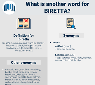 biretta, synonym biretta, another word for biretta, words like biretta, thesaurus biretta