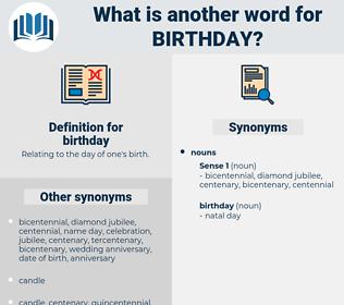 birthday, synonym birthday, another word for birthday, words like birthday, thesaurus birthday