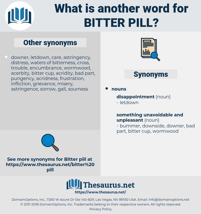 bitter pill, synonym bitter pill, another word for bitter pill, words like bitter pill, thesaurus bitter pill