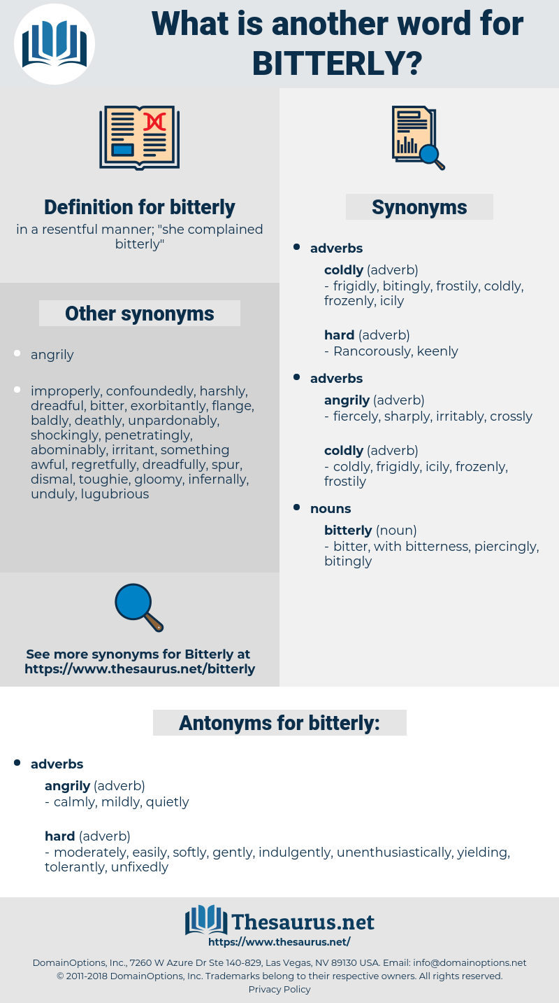 bitterly, synonym bitterly, another word for bitterly, words like bitterly, thesaurus bitterly