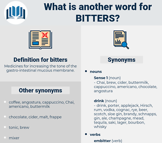 bitters, synonym bitters, another word for bitters, words like bitters, thesaurus bitters