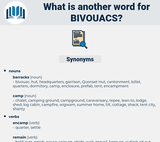 bivouacs, synonym bivouacs, another word for bivouacs, words like bivouacs, thesaurus bivouacs