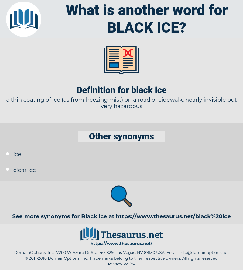 black ice, synonym black ice, another word for black ice, words like black ice, thesaurus black ice
