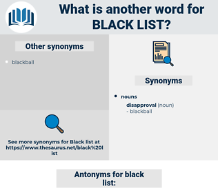 black list, synonym black list, another word for black list, words like black list, thesaurus black list