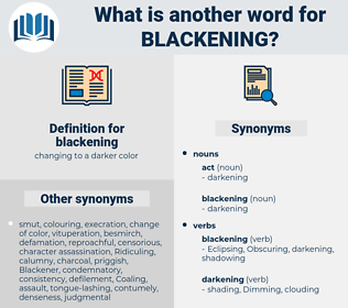 blackening, synonym blackening, another word for blackening, words like blackening, thesaurus blackening