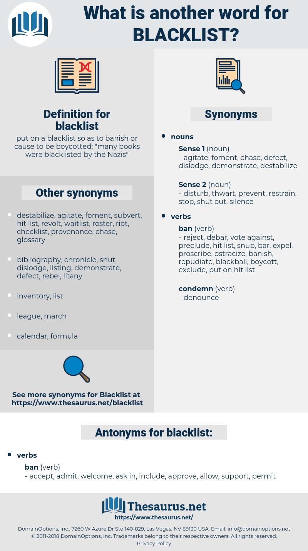 blacklist, synonym blacklist, another word for blacklist, words like blacklist, thesaurus blacklist