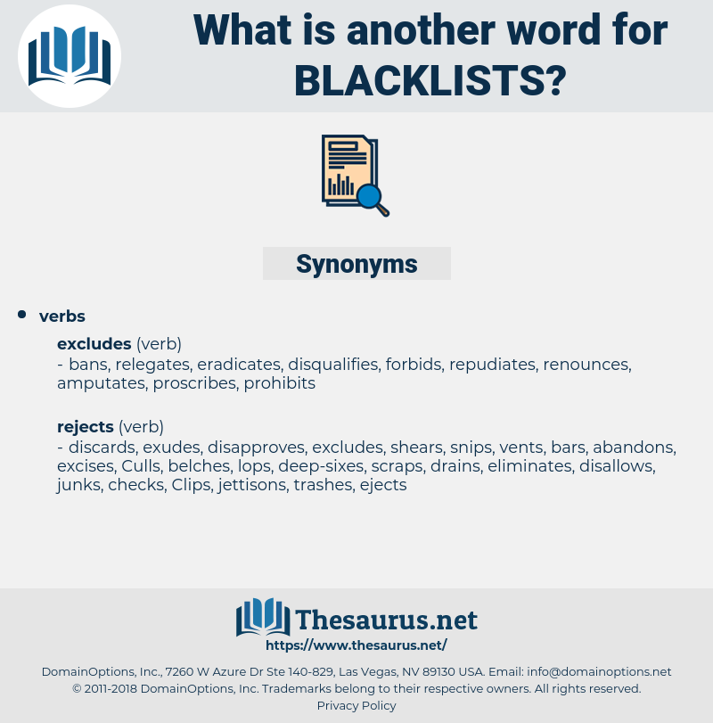 blacklists, synonym blacklists, another word for blacklists, words like blacklists, thesaurus blacklists