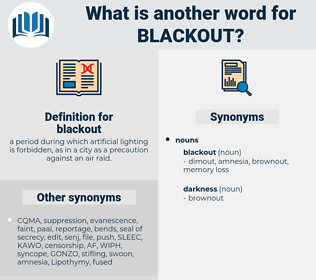 blackout, synonym blackout, another word for blackout, words like blackout, thesaurus blackout