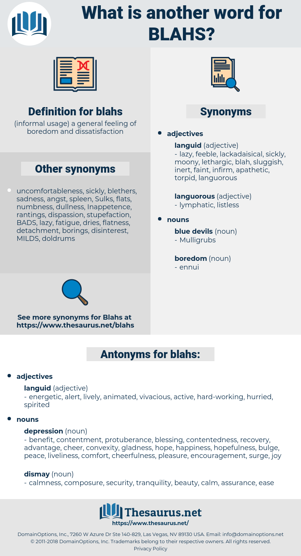 blahs, synonym blahs, another word for blahs, words like blahs, thesaurus blahs