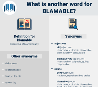 blamable, synonym blamable, another word for blamable, words like blamable, thesaurus blamable