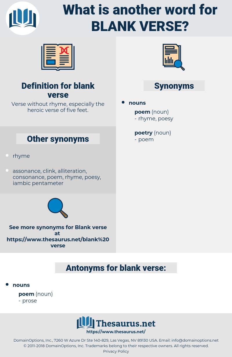blank verse, synonym blank verse, another word for blank verse, words like blank verse, thesaurus blank verse