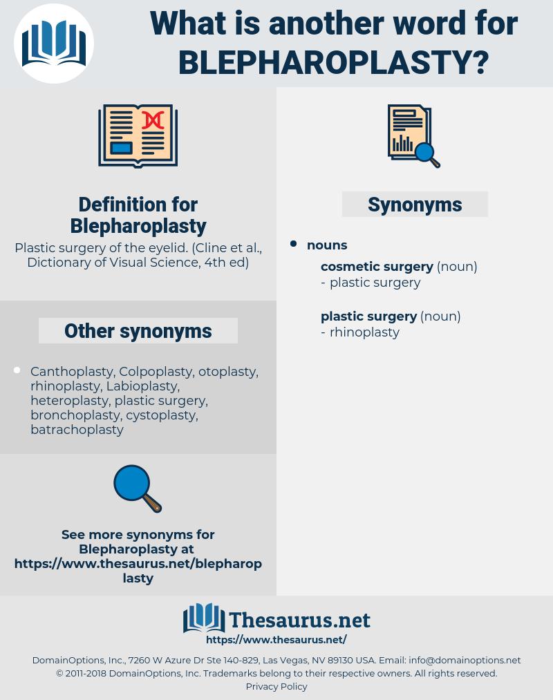 Blepharoplasty, synonym Blepharoplasty, another word for Blepharoplasty, words like Blepharoplasty, thesaurus Blepharoplasty