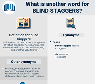 blind staggers, synonym blind staggers, another word for blind staggers, words like blind staggers, thesaurus blind staggers