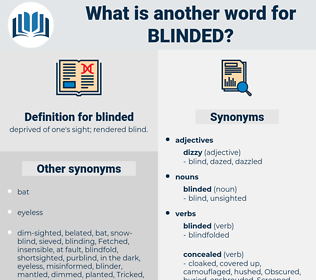 blinded, synonym blinded, another word for blinded, words like blinded, thesaurus blinded