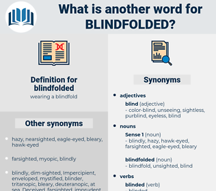 blindfolded, synonym blindfolded, another word for blindfolded, words like blindfolded, thesaurus blindfolded