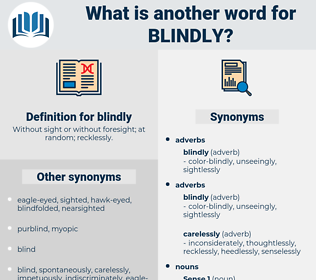 blindly, synonym blindly, another word for blindly, words like blindly, thesaurus blindly