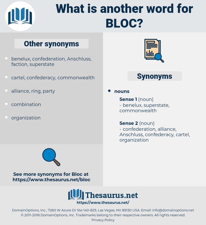 bloc, synonym bloc, another word for bloc, words like bloc, thesaurus bloc