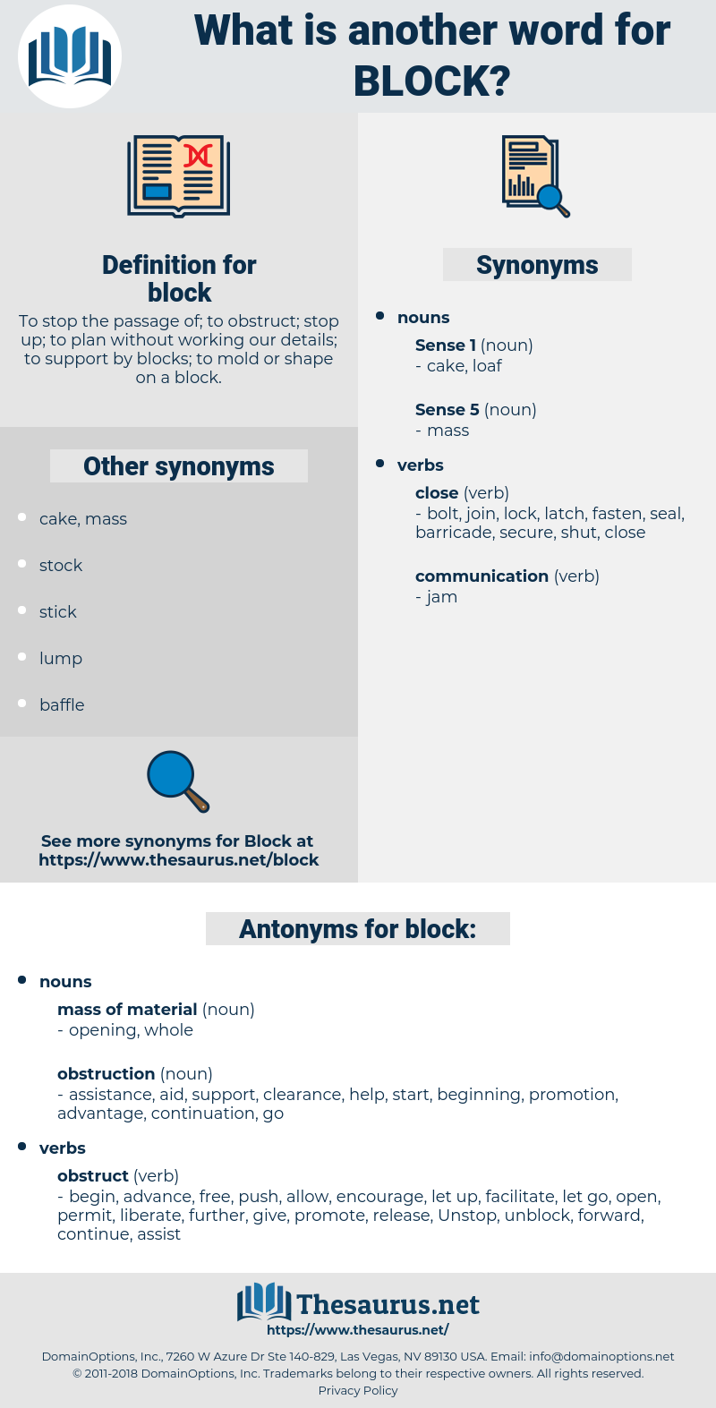 block, synonym block, another word for block, words like block, thesaurus block