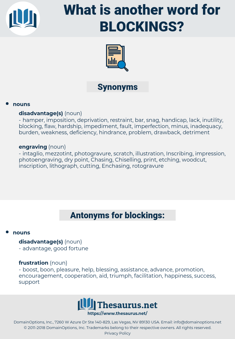 blockings, synonym blockings, another word for blockings, words like blockings, thesaurus blockings