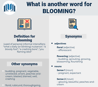 blooming, synonym blooming, another word for blooming, words like blooming, thesaurus blooming