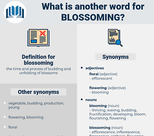 blossoming, synonym blossoming, another word for blossoming, words like blossoming, thesaurus blossoming