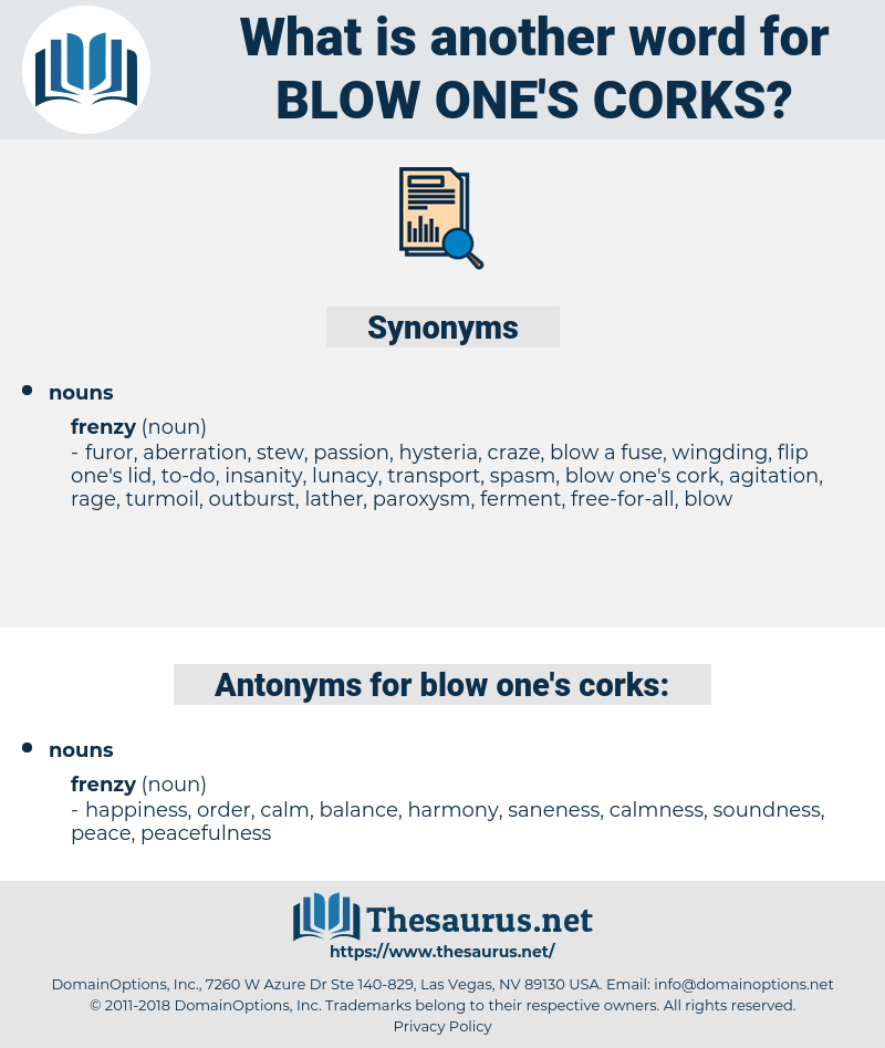 blow one's corks, synonym blow one's corks, another word for blow one's corks, words like blow one's corks, thesaurus blow one's corks