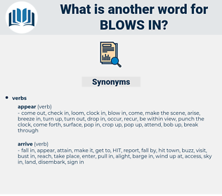 blows in, synonym blows in, another word for blows in, words like blows in, thesaurus blows in