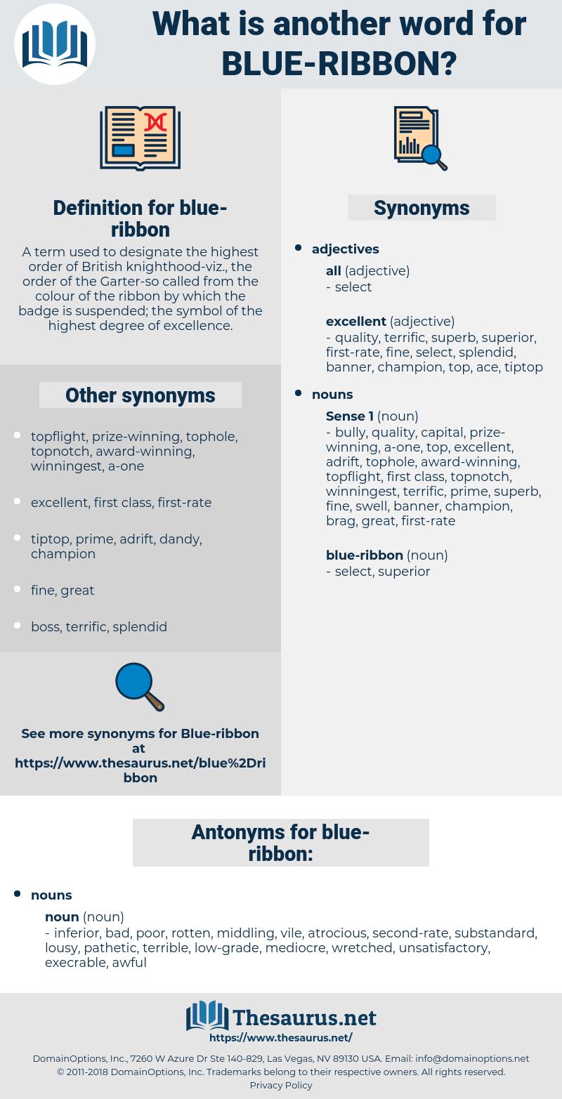 blue-ribbon, synonym blue-ribbon, another word for blue-ribbon, words like blue-ribbon, thesaurus blue-ribbon