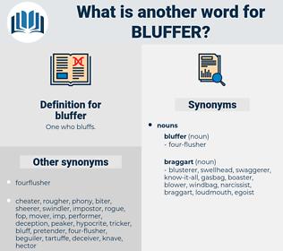 bluffer, synonym bluffer, another word for bluffer, words like bluffer, thesaurus bluffer