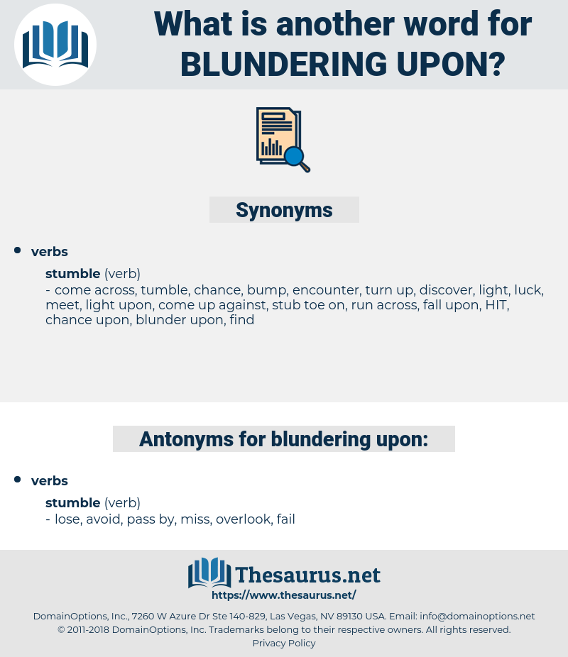 blundering upon, synonym blundering upon, another word for blundering upon, words like blundering upon, thesaurus blundering upon