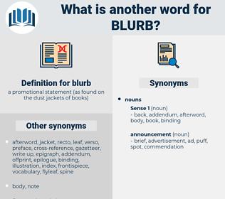blurb, synonym blurb, another word for blurb, words like blurb, thesaurus blurb