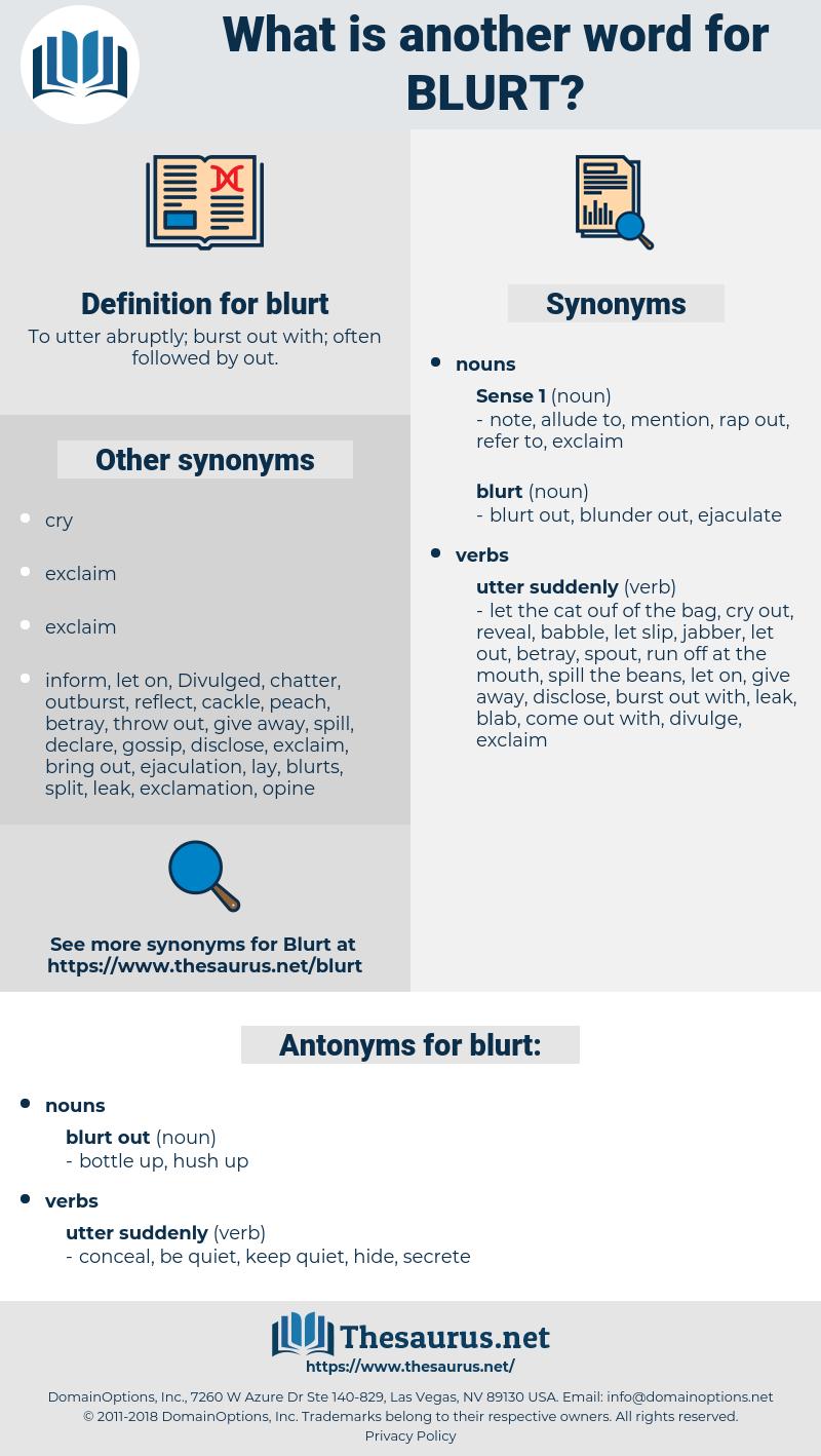 blurt, synonym blurt, another word for blurt, words like blurt, thesaurus blurt
