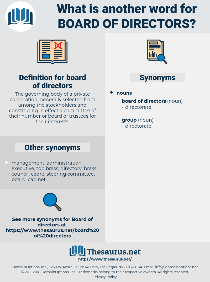 synonyms for board of directors - thesaurus