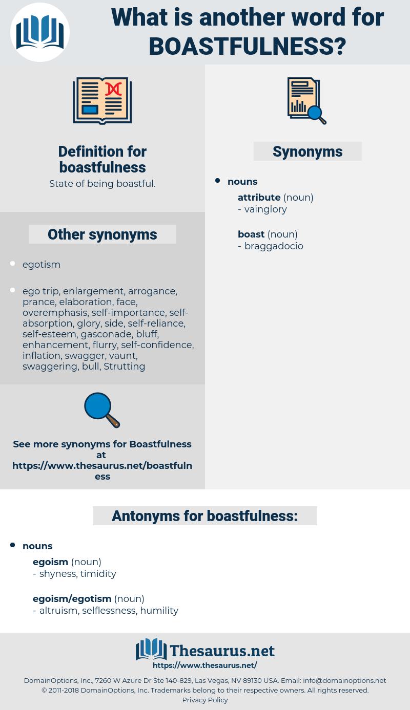 boastfulness, synonym boastfulness, another word for boastfulness, words like boastfulness, thesaurus boastfulness