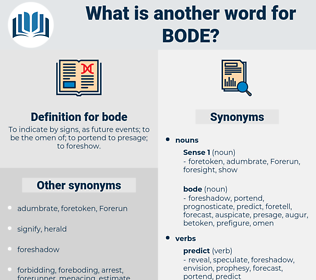 bode, synonym bode, another word for bode, words like bode, thesaurus bode