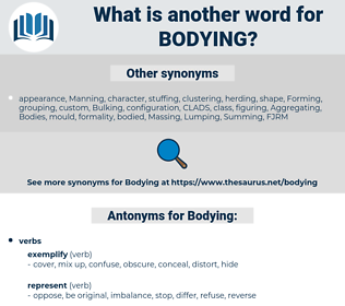 Bodying, synonym Bodying, another word for Bodying, words like Bodying, thesaurus Bodying