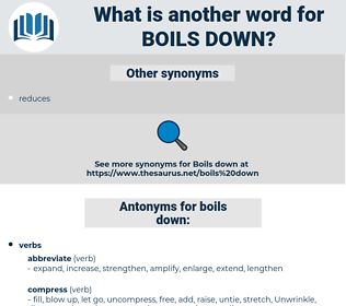 boils down, synonym boils down, another word for boils down, words like boils down, thesaurus boils down