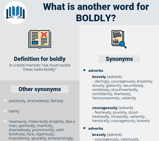 boldly, synonym boldly, another word for boldly, words like boldly, thesaurus boldly
