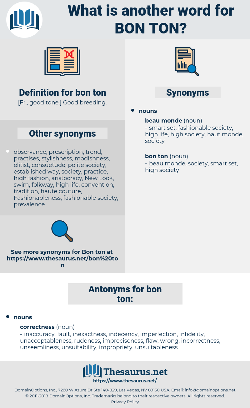 bon ton, synonym bon ton, another word for bon ton, words like bon ton, thesaurus bon ton
