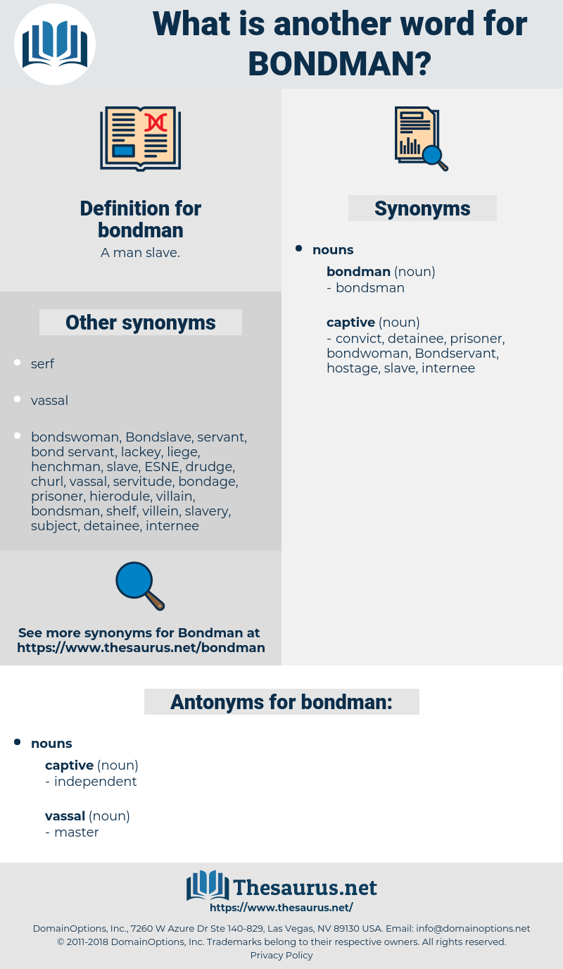 bondman, synonym bondman, another word for bondman, words like bondman, thesaurus bondman