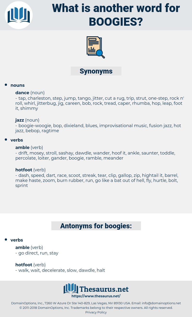 boogies, synonym boogies, another word for boogies, words like boogies, thesaurus boogies