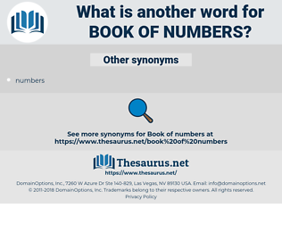 Book of Numbers, synonym Book of Numbers, another word for Book of Numbers, words like Book of Numbers, thesaurus Book of Numbers