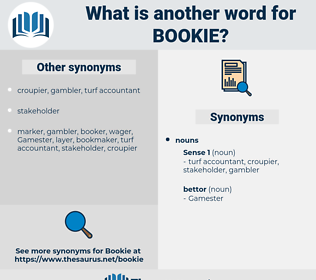 bookie, synonym bookie, another word for bookie, words like bookie, thesaurus bookie