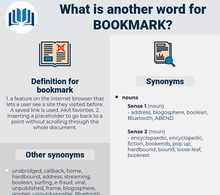 bookmark, synonym bookmark, another word for bookmark, words like bookmark, thesaurus bookmark