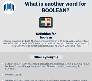 boolean, synonym boolean, another word for boolean, words like boolean, thesaurus boolean