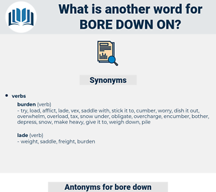 bore down on, synonym bore down on, another word for bore down on, words like bore down on, thesaurus bore down on