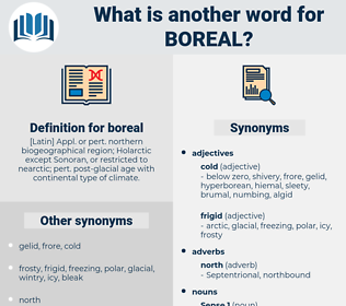 boreal, synonym boreal, another word for boreal, words like boreal, thesaurus boreal