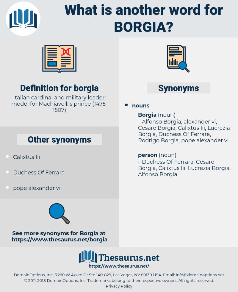 borgia, synonym borgia, another word for borgia, words like borgia, thesaurus borgia