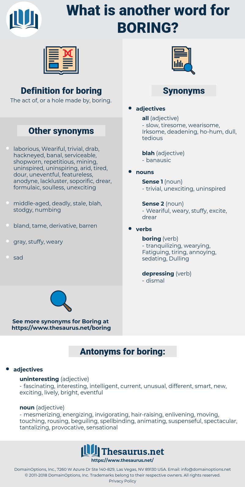 boring, synonym boring, another word for boring, words like boring, thesaurus boring